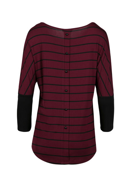Ladies' Stripe Button Back Top, WINE, hi-res