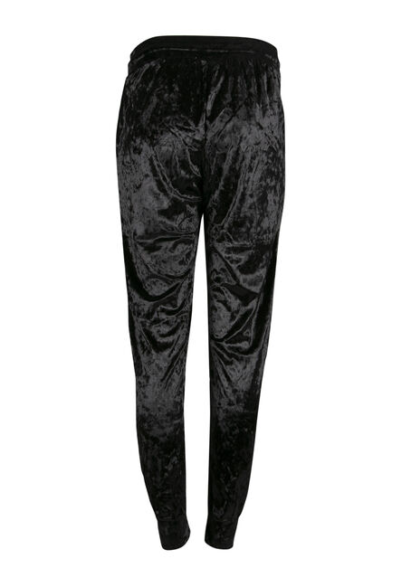 Ladies' Crushed Velvet Jogger, BLACK, hi-res