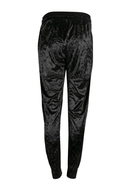 Ladies' Crushed Velvet Jogger, BLACK, hi-res