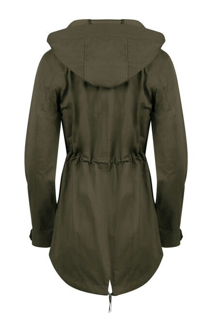 Ladies Hooded Anorak Jacket, OLIVE, hi-res