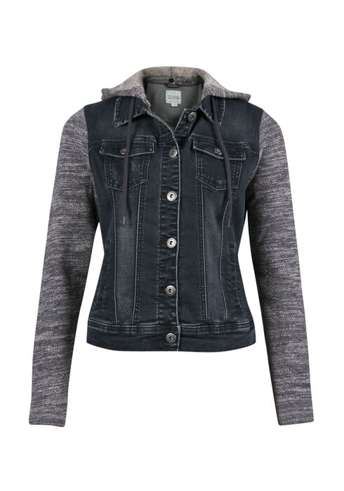 Ladies' Knit Sleeve Jean Jacket, BLACK, hi-res