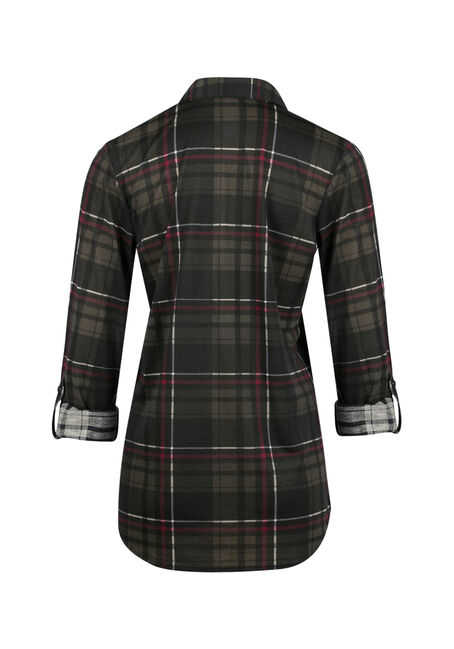 Ladies' Knit Plaid Shirt, MILITARY, hi-res