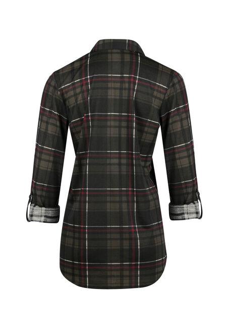 Ladies' Knit Plaid Shirt, MILITARY, hi-res
