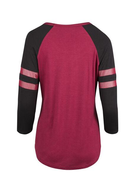 Ladies' Mesh Football Tee, TRUE RED/ BLK, hi-res