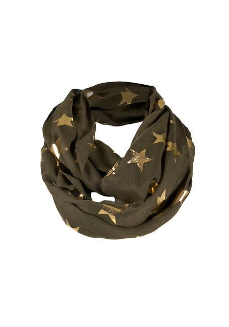 Ladies' Foil Star Infinity Scarf, DARK OLIVE, hi-res