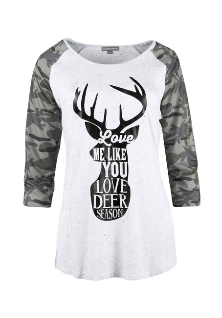 Ladies' Deer Season Baseball Tee, IVORY, hi-res