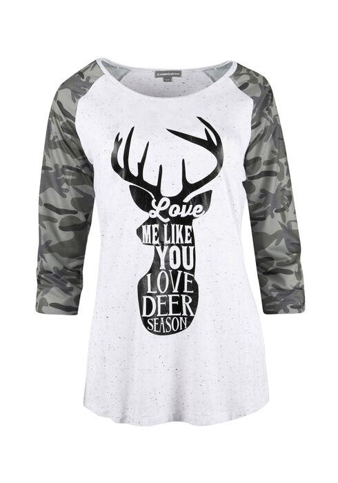 Ladies' Deer Season Baseball Tee, IVORY, hi-res
