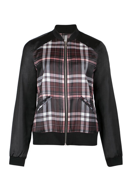 Ladies' Plaid Bomber Jacket