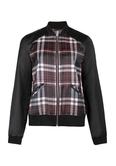 Ladies' Plaid Bomber Jacket, WINE, hi-res