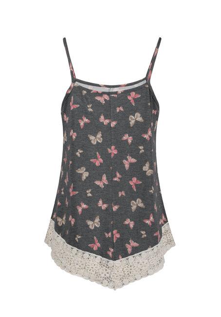 Ladies' Butterfly Crochet Trim Tank, BLACK, hi-res