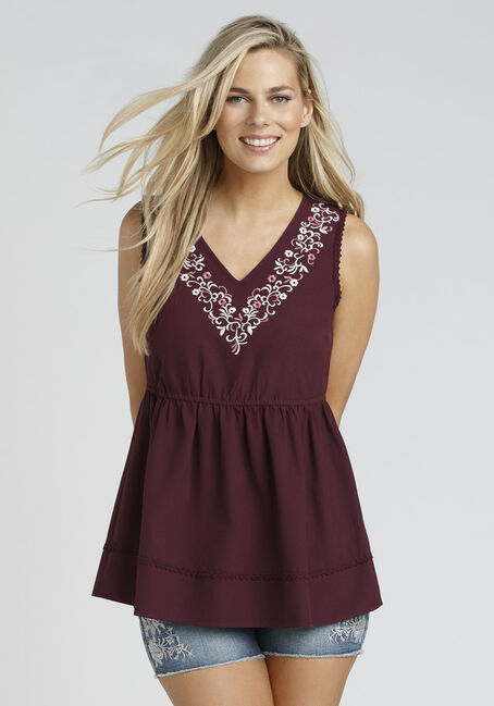 Ladies' Embroidered Empire Tank, DK PINK, hi-res