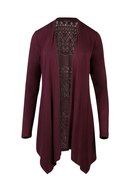 Ladies' Lace Back Open Cardigan, MULBERRY, hi-res
