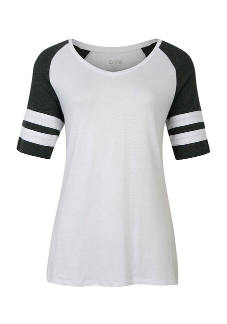 Ladies' V-Neck Football Tee, WHITE/CHARCOAL, hi-res