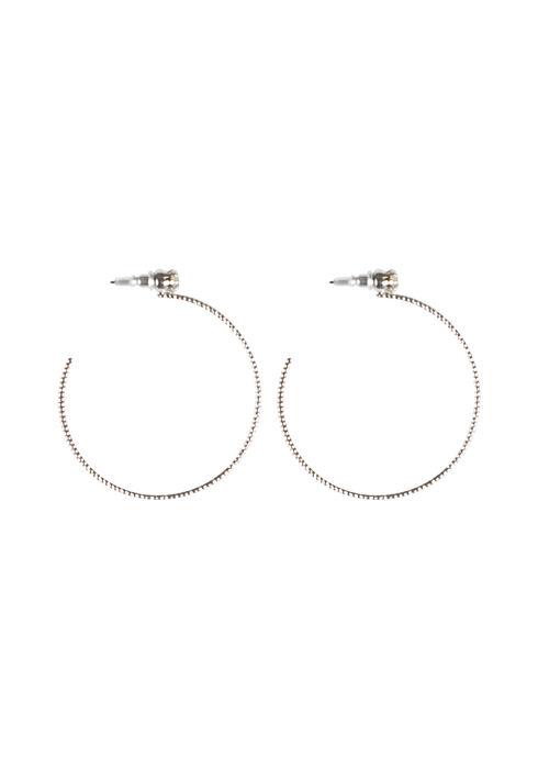 Ladies' Rhinestone Hoop Earring, RHODIUM, hi-res