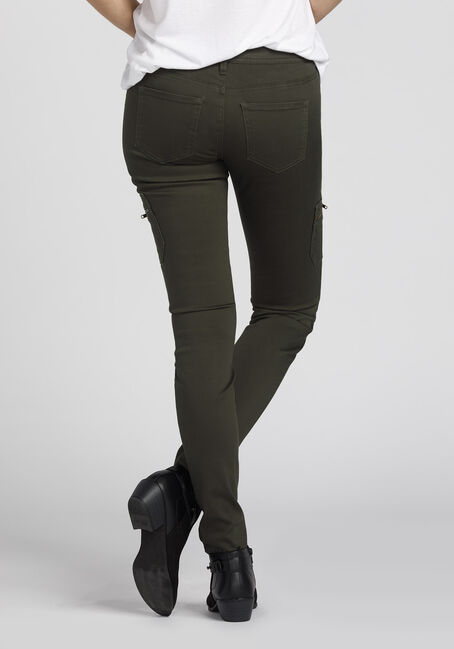 Ladies' Skinny Cargo Pants, DARK OLIVE, hi-res