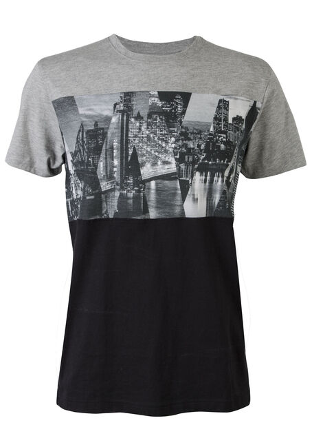 Men's Printed Tee, HEATHER GREY, hi-res