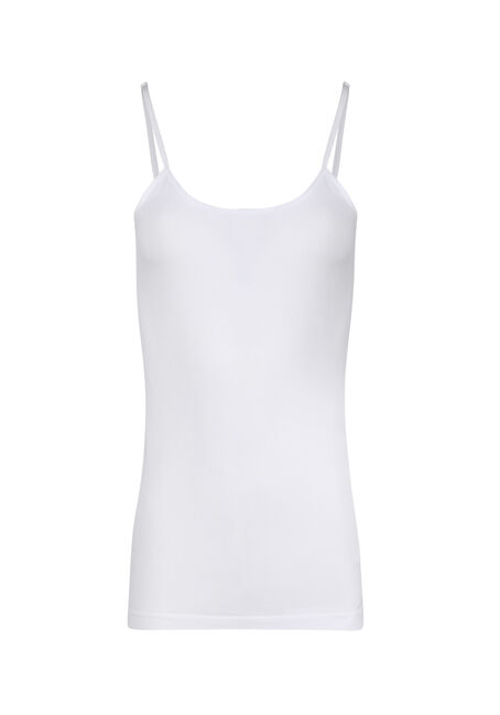 Ladies' Seamless Strappy Tank, WHITE, hi-res