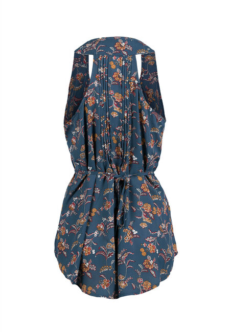 Ladies' Wallpaper Floral Tunic Tank, MOONLIGHT BLUE, hi-res