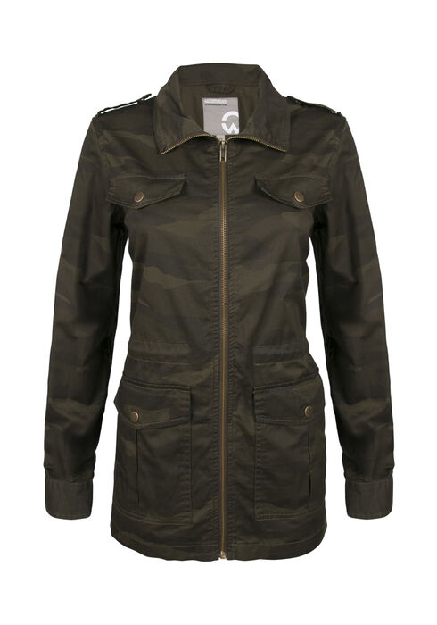 Ladies' Camo Utility Jacket, OLIVE COMBO, hi-res