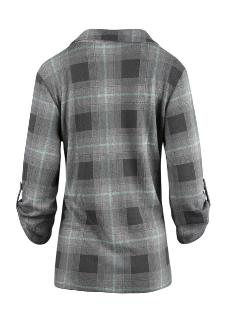 Ladies' Knit Plaid Cardigan, MINT, hi-res