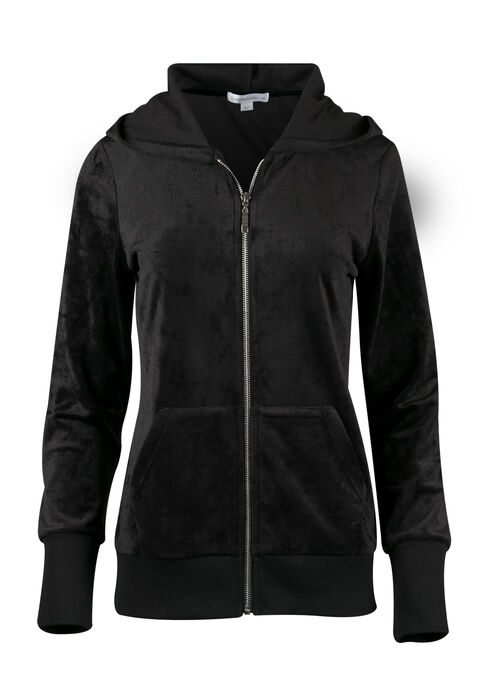 Ladies' Velour Zip Up, BLACK, hi-res