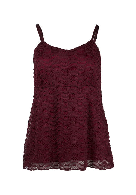 Ladies' Wavy Lace Overlay Tank, PORT, hi-res