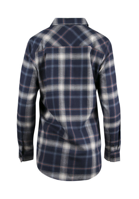 Ladies' Flannel Boyfriend Shirt, NAVY, hi-res