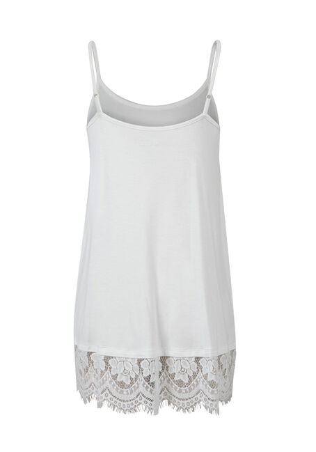 Ladies' Lace Trim Tunic Tank, IVORY, hi-res