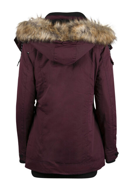 Ladies' Plus Size Utility Parka, DEEP WINE, hi-res