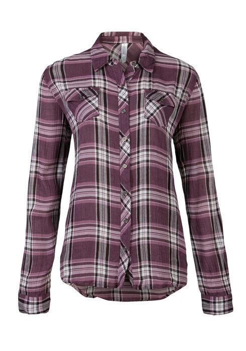 Ladies' Crinkle Plaid Shirt, THISTLE, hi-res