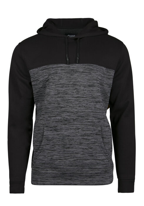 Men's Colour Block Popover Hoodie, CHARCOAL, hi-res
