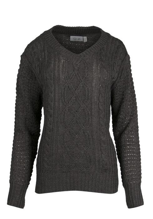 Ladies' Cable Knit Sweater, ASH GREY MELANGE, hi-res