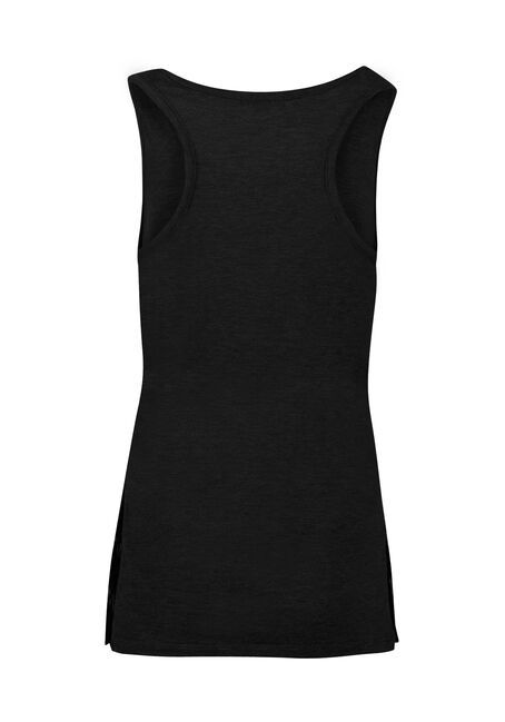 Ladies' Lace Insert Tank, BLACK, hi-res