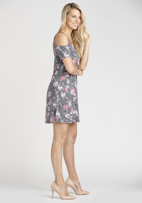 Ladies' Floral Cold Shoulder Dress, BLACK, hi-res