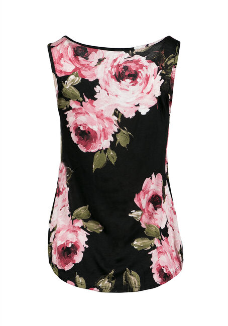 Ladies' Floral Tank, BLACK, hi-res