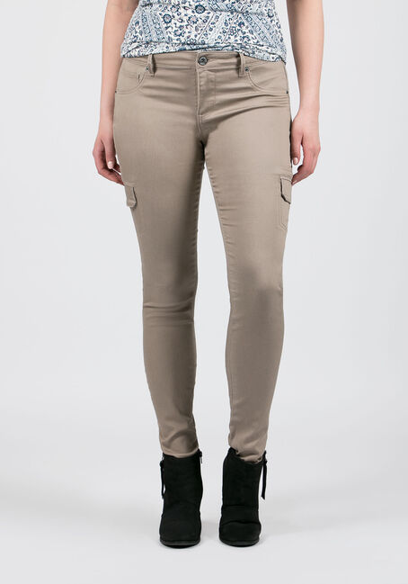 Ladies' Skinny Cargo Pants, SAND, hi-res
