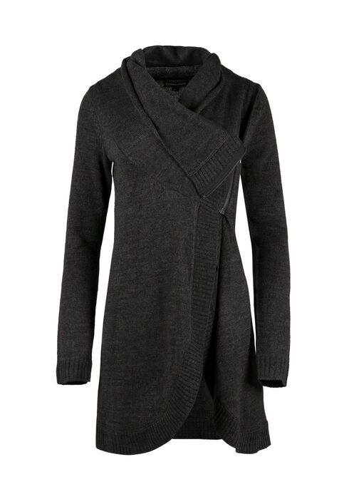Ladies' Cowl Neck Cardigan, CHARCOAL, hi-res