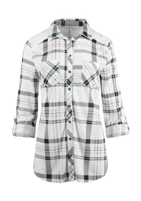 Ladies' Lace Trim Knit Plaid Shirt
