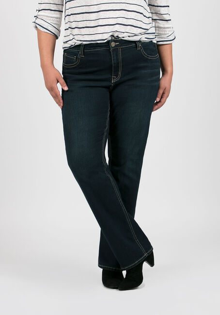 Ladies' Plus Size Straight Leg Jeans, DARK VINTAGE WASH, hi-res