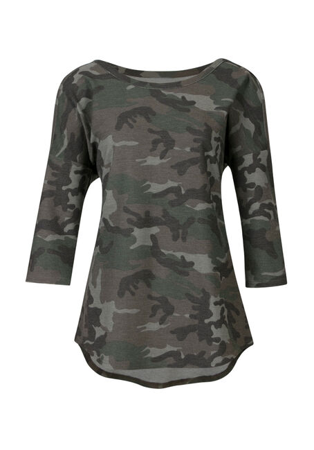 Ladies' Camo Cold Shoulder Top, KHAKI, hi-res