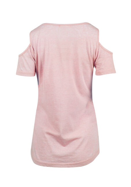 Ladies' Cold Shoulder Tee, ROSEWATER, hi-res