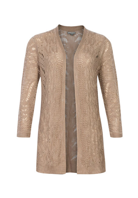 Ladies' Pointelle Cardigan, MOCHA, hi-res
