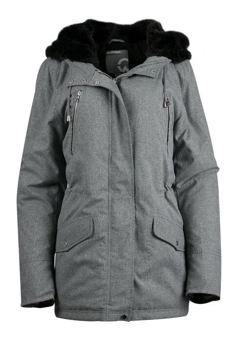 Ladies' Plush Lined Hooded Parka, GREY, hi-res