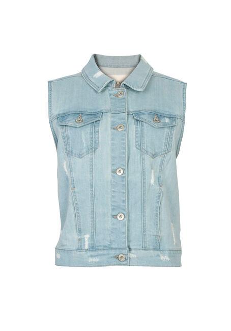 Ladies' Bleach Wash Jean Vest