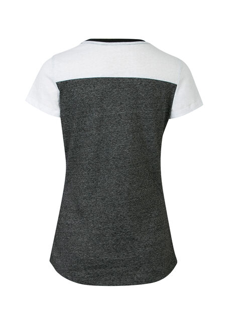 Ladies' Color Block V-Neck Tee, GREY/ WHITE, hi-res