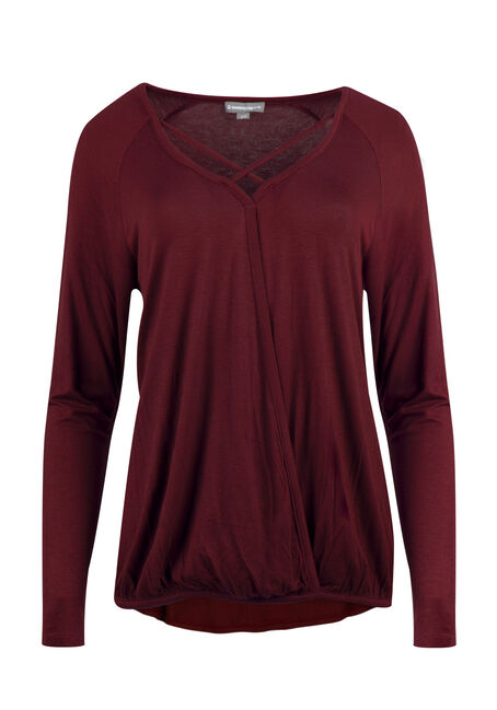 Ladies' Wrap Front Bubble Top, BURNT RED, hi-res