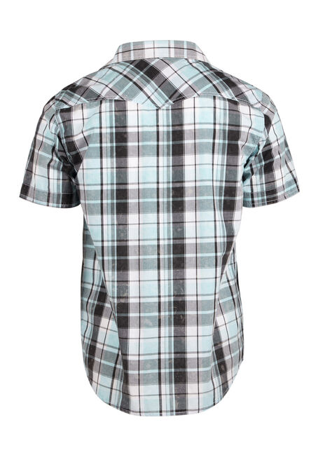 Men's Relaxed Acid Wash Plaid Shirt, AQUA, hi-res