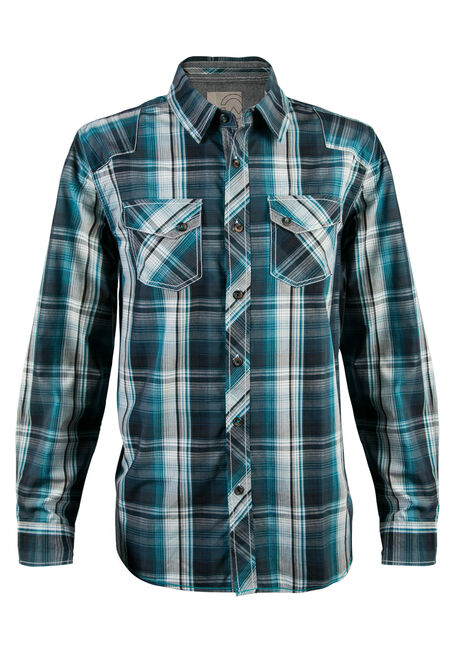 Men's Teal Plaid Shirt, TEAL, hi-res