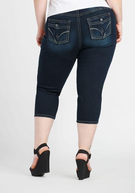 Ladies' Plus Size Slim Capri, DARK VINTAGE WASH, hi-res