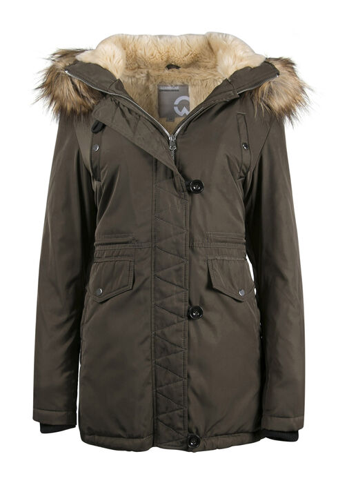 Ladies' Fur Trim Hooded Parka, OLIVE, hi-res